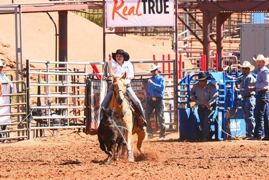 McKenzie Watkins, seen here at the New Mexico state finals May 24-27 at Red Rock Park in Gallup, is among three San Juan County rodeo competitors who qualified for nationals July 14-20 in Rock Springs, Wyoming.