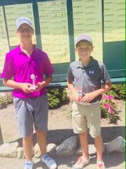 Keldon Koshorek (left) and Keller King led the field among boys 12-14 at Hartland Glen.