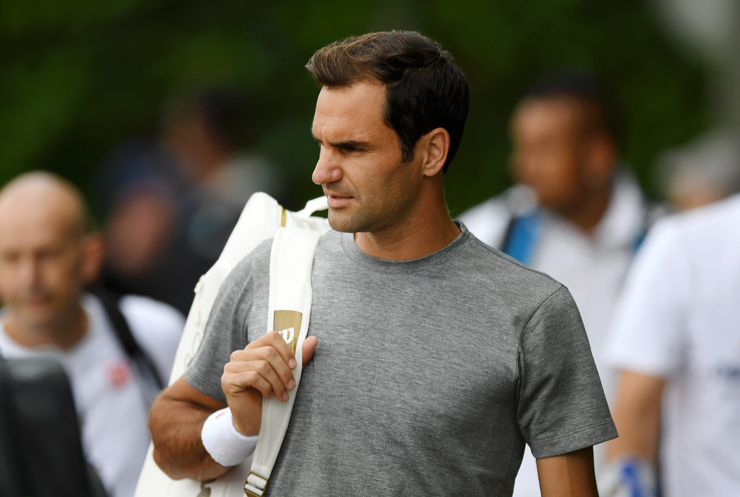 Roger Federer looks on during a practice session ahead of The Championships - Wimbledon 2019 at All England Lawn Tennis and Croquet Club on June 30, 2019 in London, England.