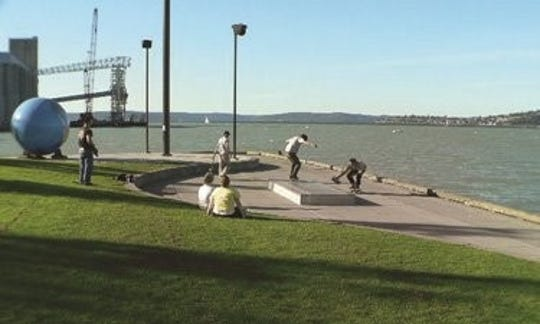 An example of a skate spot in Tacoma, Washington at Thea's Park Skate Spot.