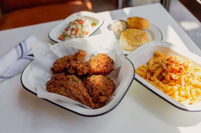 A spread of dishes from The Hot Chick, a new eatery in Old Town Scottsdale. The new restaurant specializes in fried chicken.