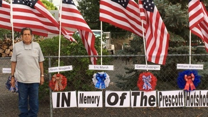 19 flags and 19 names: Arizona man remembers Yarnell hotshots with front-yard memorial