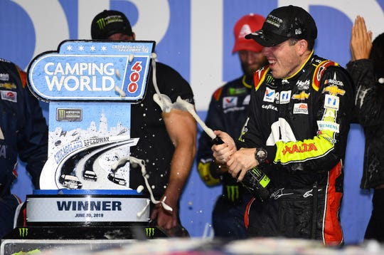 Jun 30, 2019: NASCAR Cup Series driver Alex Bowman (88) reacts after winning the Camping World 400 at Chicagoland Speedway.