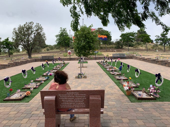A quiet afternoon at Arizona Pioneers Home Cemetery in Prescott, with displays to commemorate each fallen hotshot, on June 30, 2019.