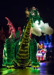 Pete's Dragon dazzles in the night during the Main Street Electrical Parade at Disneyland Park. The nostalgic fan-favorite Main Street Electrical Parade will once again create magical summer memories for guests of all ages at Disneyland Park, with a limited-time encore engagement taking place nightly, from Aug. 2 to Sept. 30, 2019. The nighttime spectacle features half-million sparkling lights.