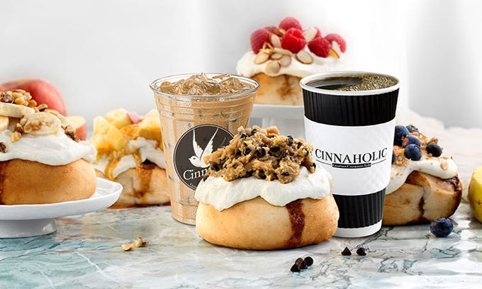Cinnamon rolls and coffee drinks from Cinnaholic. The bakery chain will open its first Arizona location in Gilbert July 12.
