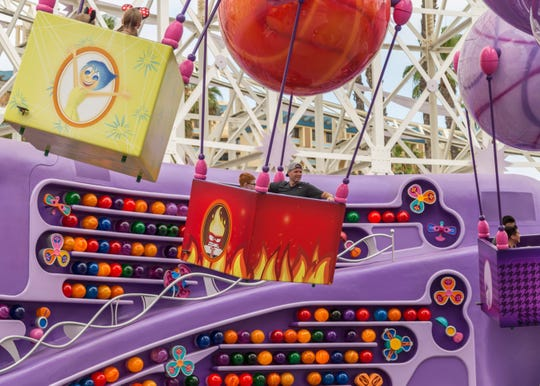 "Inside Out Emotional Whirlwind at Pixar Pier in Disney California Adventure Park, inspired by the hit Disney and Pixar film, ""Inside Out,"" takes guests on a sense-ational spin to help Riley's emotions (Joy, Sadness, Anger, Disgust and Fear) sort through memories being collected."