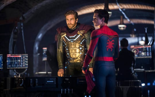 "Jake Gyllenhaal, left, and Tom Holland star in ""Spider-Man: Far From Home."" The movie opens Tuesday at Regal West Manchester, Frank Theatres Queensgate Stadium 13 and R/C Hanover Movies."