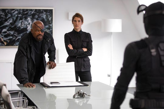 "Samuel L. Jackson, left, and Cobie Smulders are shown in ""Spider-Man: Far From Home."" The movie opens Tuesday at Regal West Manchester, Frank Theatres Queensgate Stadium 13 and R/C Hanover Movies."