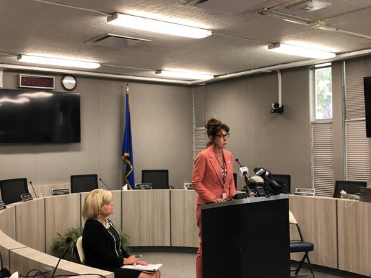 Interim Superintendent Kristen McNeill and Washoe School Board President Katy Simon Holland stage a press conference on July 1, 2019 following the ouster of Traci Davis as district superintendent.