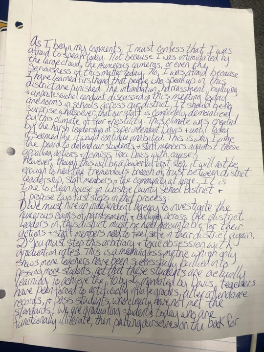 A copy of the speech by Hug High School teacher Selena LaRue Hatch.