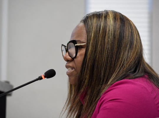 Images from Monday's Washoe County School Board meeting with Traci Davis on July 1, 2019.