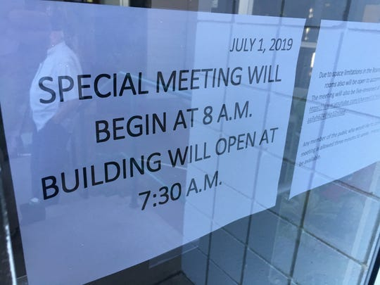 A sign outside WCSD headquarters Monday morning.