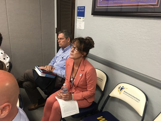Interim Superintendent Kristen McNeill attends school board meeting on July 1, 2019.
