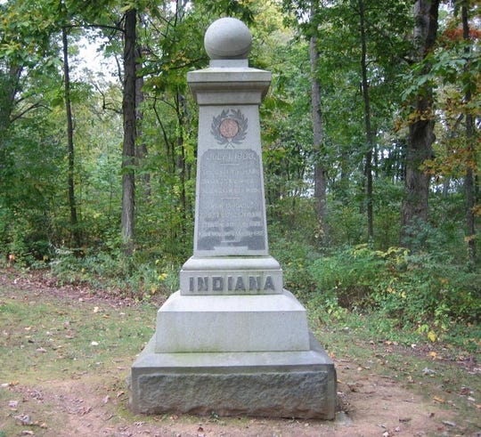 This monument today stands at the base of McPherson's Ridge. The 19th Indiana's stone memorial was the first Iron Bridge monument ever placed on a battlefield.