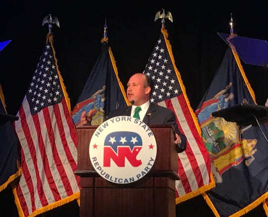 Nick Langworthy speaks after being elected chair of the New York State Republican Party; Albany, NY; July 1, 2019.