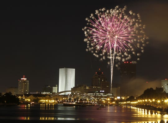 Fireworks light up the sky in downtown Rochester.