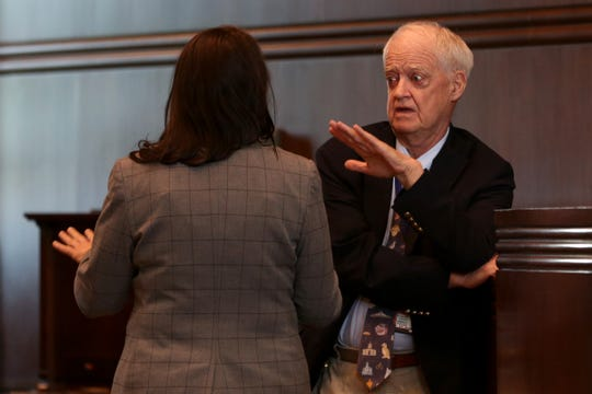 Senate President Peter Courtney, D-Salem, speaks to Sen. Sara Gelser, D-Corvallis, on the last day of the 2019 legislative session at the Oregon State Capitol in Salem on June 30, 2019.