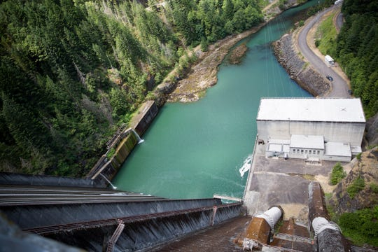 A view of Detroit Dam is pictured on June 26, 2019.