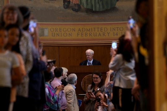 Senate President Peter Courtney ends the 2019 legislative session in the Senate chambers at the Oregon State Capitol in Salem on June 30, 2019.