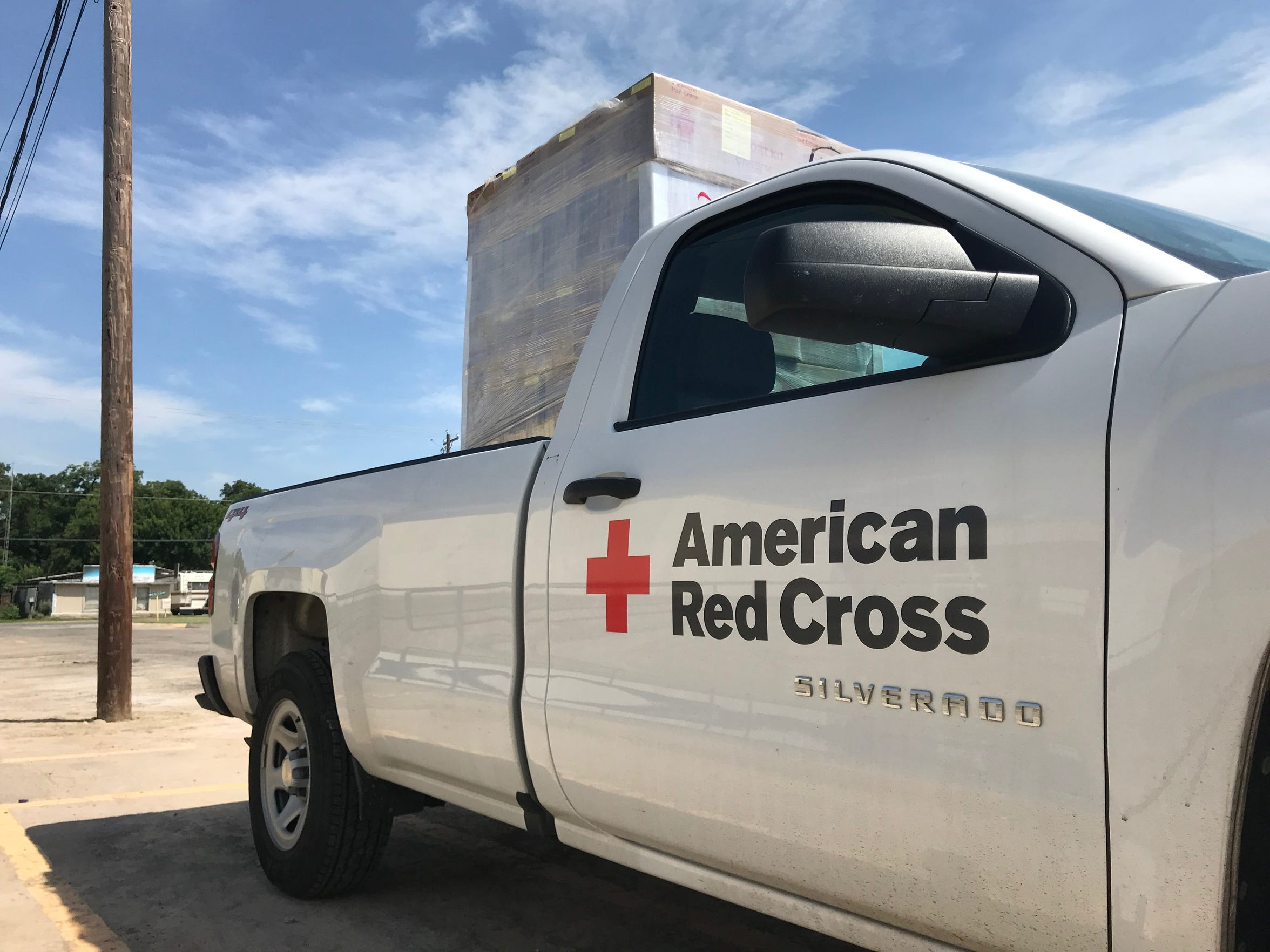 "Dozens of ""Comfort Kit's"" from the Texas Hill Country American Red Cross, are dropped off to help migrant families at the Val Verde Border Humanitarian Coalition Center in Del Rio, Texas. June 19, 2019."