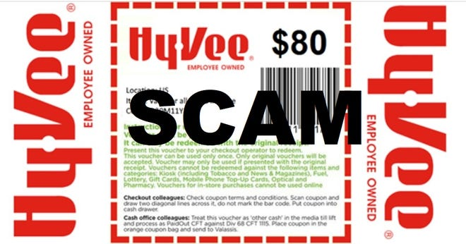 This fake $80 Hy-Vee coupon is making the rounds on social media. Don't be fooled. It's a scam, and Hy-Vee does not honor the coupon.