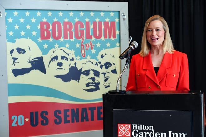 Scyller Borglum announces that she is running for Senate on Monday, July 1, at the Hilton Garden Inn in Sioux Falls. This was her third stop on her campaign announcement tour.