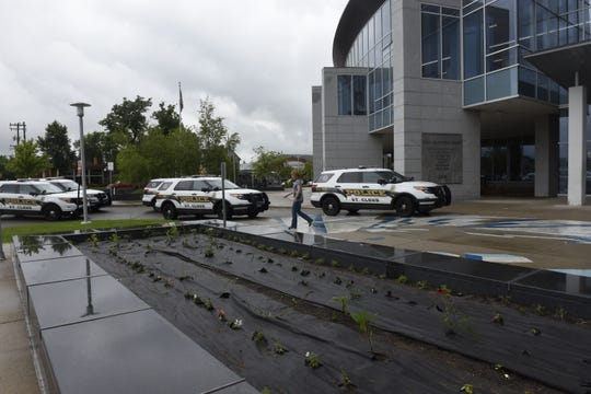 Six police cars could be seen outside  the St. Cloud Public Library on Monday, July 1, 2019.