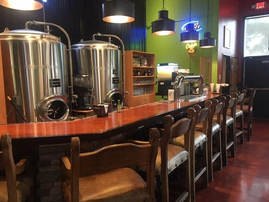 The bar seating area, facing brewing tanks from former tenant Urban Lodge Brewery & Restaurant, is pictured Monday, July 1 at El Loro Mexican Restaurant, 415 N Benton Drive, Sauk Rapids.