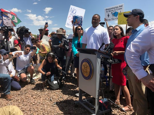 Alexandria Ocasio-Cortez speaks after members of the Hispanic Caucus toured Border Patrol facilities in the El Paso area.