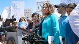 Democrat lawmakers host press conference after El Paso area detention facilities tours Monday, July 1, at the Clint Border Patrol station in El Paso.