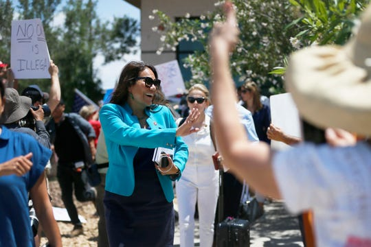 U.S. Rep. Veronica Escobar, D-El Paso, member of the House Judiciary Committee and Freshman Representative of the Hispanic Caucus, walks to the front of the Clint Border Patrol station to talk about what she saw at area border facilities Monday, July 1, at the station in Clint.