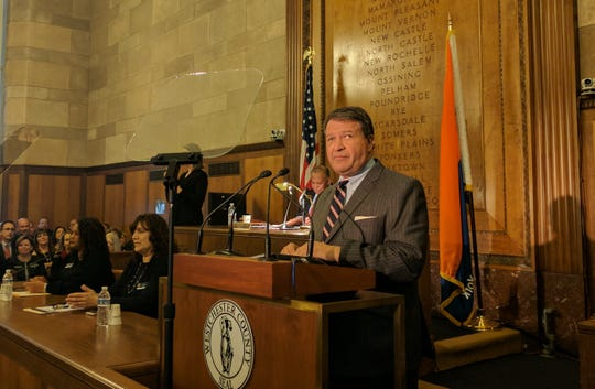 County Executive George Latimer delivered his 2019 State of the County address in the board chambers in White Plains.