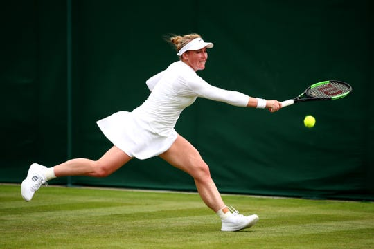 Dover's Madison Brengle in her Ladies' Singles first round match during Day one of The Championships - Wimbledon 2019 at All England Lawn Tennis and Croquet Club in London.