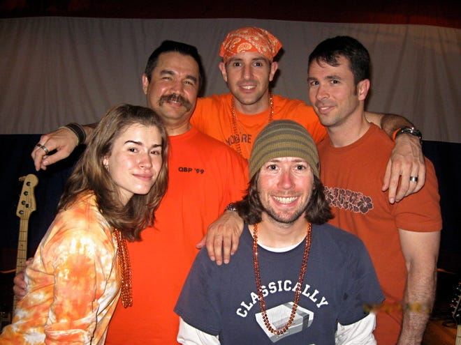 A 2009 image of White Jet Heroes with guitarist Jeremy Downs wearing the do-rag and Chris Breffitt on the upper right.