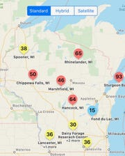 Sporecaster predictions for selected non-irrigated locations in Wisconsin for July 1, 2019.