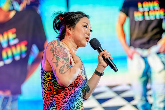 Comedian Margaret Cho hosts the Closing Ceremony of WorldPride NYC 2019 at Times Square on June 30, 2019 in New York City.