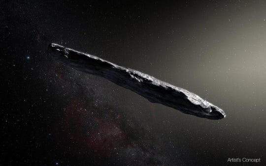 An artist's conception of the Oumuamua space rock, which sailed through our solar system in 2017.