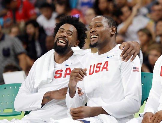 DeAndre Jordan and Kevin Durant during the 2016 Summer Olympics.