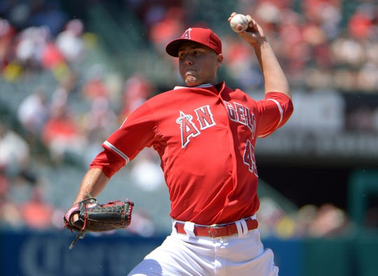 Skaggs pitching against the Mariners in July 2014.