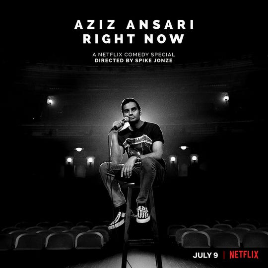 """Aziz Ansari Right Now"" is the title of the actor and comedian's new Netflix special."