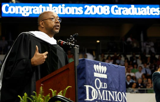 """Leonard Pitts, speaks to the graduates at Old Dominion University in Norfolk, Va. Maryland authorities are investigating an apparent """"swatting"""" incident in which a caller made a hoax report that Pulitzer Prize-winning columnist Leonard G. Pitts Jr., may have committed a crime at his home."""