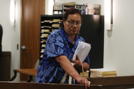 Mariana Ramon of Long Branch, widow of Hector Mejia, addresses the court before Jeffrey Williams is sentenced to 30 years for the felony murder of Hector Mejia, who was fatally shot in Long Branch in 2017, before Judge Vincent Falcetano, Jr. at Monmouth County Courthouse in Freehold, NJ Tuesday July 2, 2019.