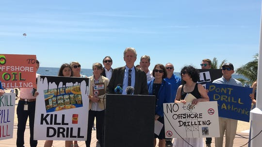 Rep. Frank Pallone Jr. speaks Tuesday about his fight against offshore drilling proposals while at Pier Village in Long Branch.