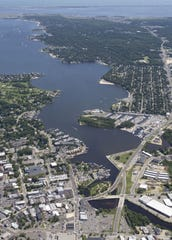 Aerial photo showing the Toms River and downtown Toms River at the lower left. Bob Bielk/Asbury Park Press 8/12/11