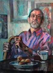 """Tea With Clint"" by Marie Tumlinson captures artist Clint Hamilton in his later years."