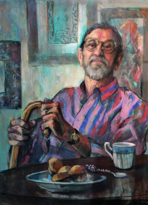 """""""Tea With Clint"""" by Marie Tumlinson captures artist Clint Hamilton in his later years."""