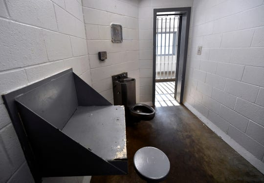 A single-occupant cell at the Taylor County Jail June 20, 2019.