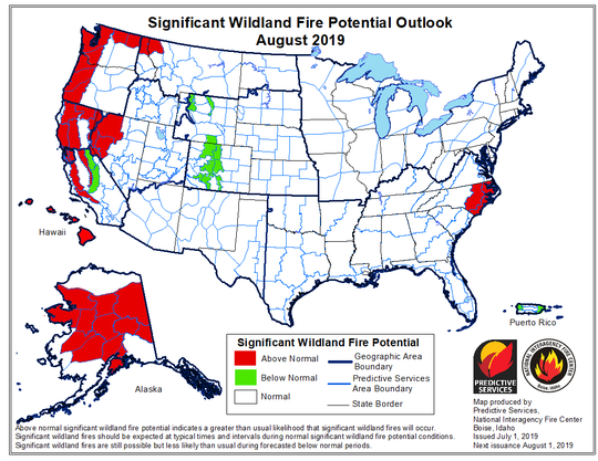 The National Interagency Fire Center provides maps predicting the outlook for potential fire danger in the coming months.