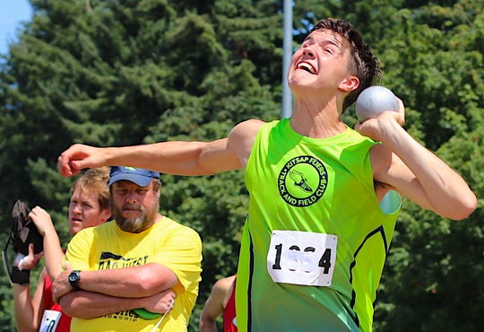 Jameson Moore competes in the shot put during the Kitsap Fliers Invitational on June 29, 2019.